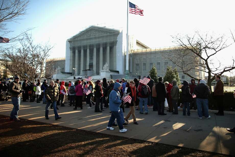 WASHINGTON, DC - MARCH 27:  Hundreds of people line up outside the Supreme Court for a chance to hear oral arguments March 27, 2013 in Washington, DC. The Supreme Court will hear arguments in the second case this week about same-sex marriage. Photo: Chip Somodevilla, Getty Images / 2013 Getty Images