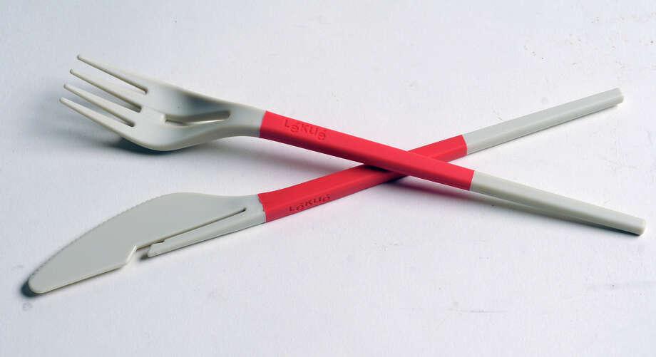 Twin One eating utensils by Lekue on Tuesday Feb. 26, 2013 in Colonie, N.Y.   (Lori Van Buren / Times Union) Photo: Lori Van Buren / 00021280A