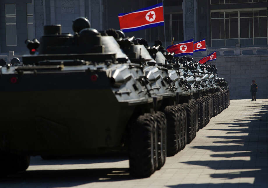 North Korean military vehicles are lined up at Kumsusan Memorial Palace in Pyongyang before a parade of thousands of soldiers commemorating the 70th birthday of the late Kim Jong Il on Thursday Feb. 16, 2012. Photo: David Guttenfelder, ASSOCIATED PRESS / AP2012