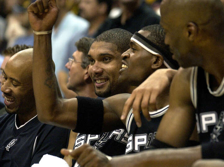 The Spurs' Tim Duncan celebrates Thursday night May 15, 2003 at the Staples Center in Los Angeles wi