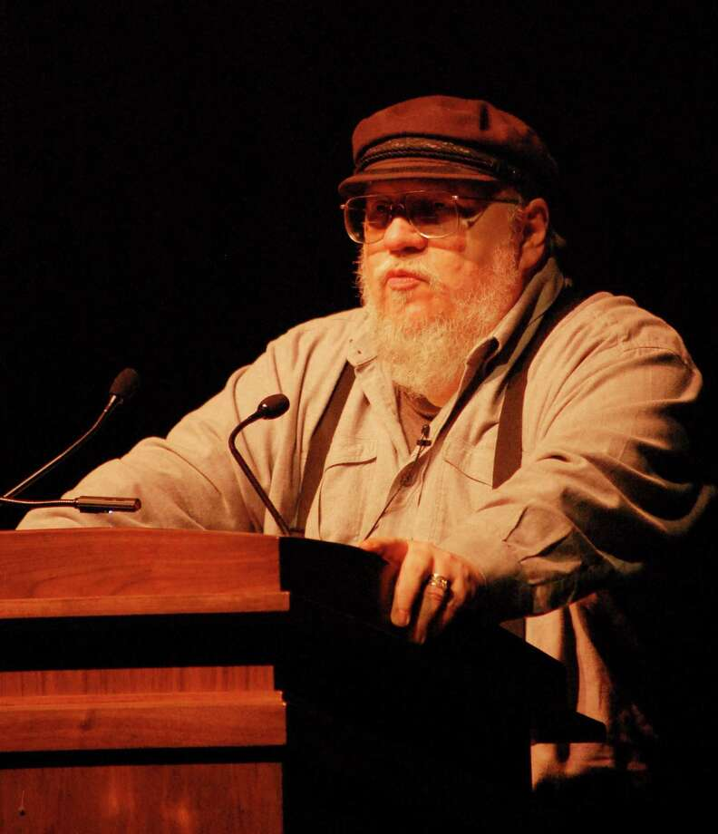 "George R.R. Martin, author of the ""A Song of Ice and Fire"" fantasy series speaks to a packed house at Texas A&M University. The third season of the HBO series ""A Game of Thrones,"" based on Martin's books, premieres tonight Photo: Richard Marini, San Antonio Express-News / San Antonio Express-News"