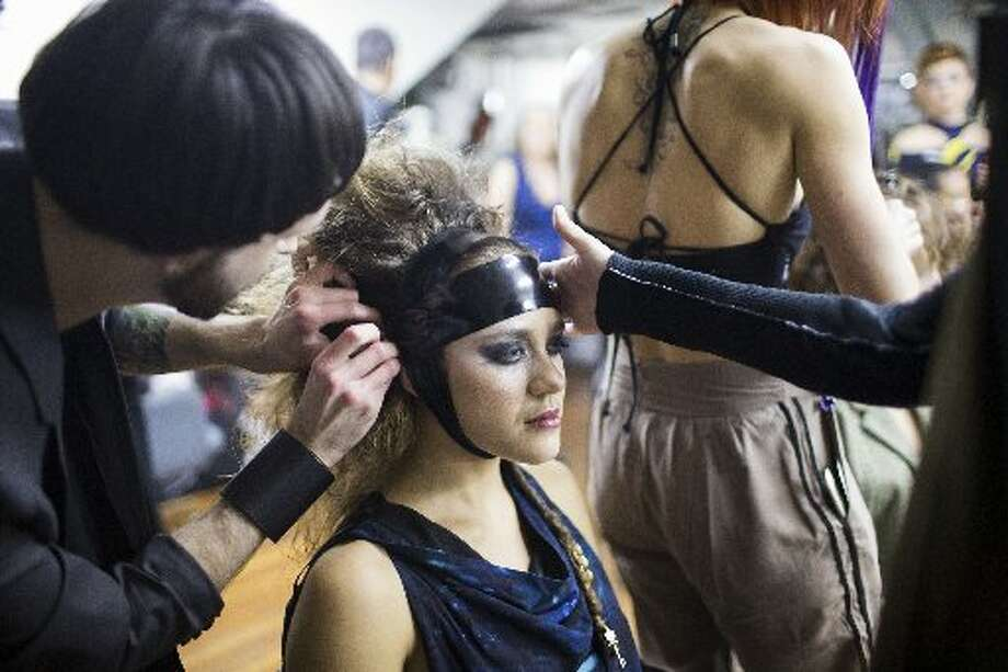Backstage before the fashion show.