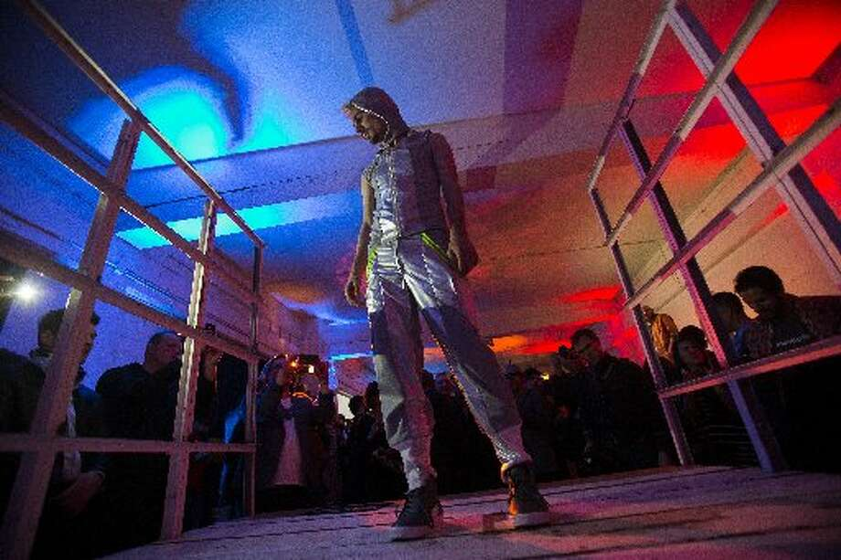 Daniel Goodwyn models an outfit by Love's Revenge during fashion collective Underground Fashion Week's fashion show.