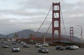 Drivers approach the unstaffed toll plaza on the first day of electronic toll collecting at the Golden Gate Bridge in San Francisco, Calif. on Wednesday, March 27, 2013.
