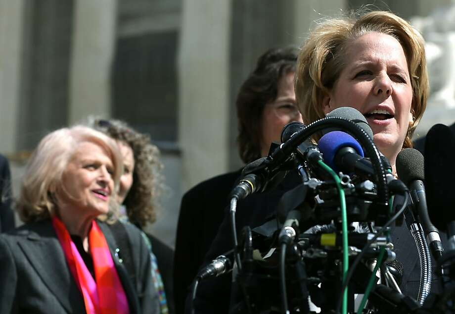 Attorney Roberta Kaplan (right) speaks as her client Edith Windsor, 83, looks on at the U.S. Supreme Court, on March 27, 2013, in Washington, D.C. Photo: Mark Wilson, Getty Images