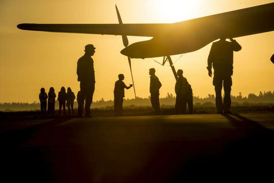 The Solar Impulse prepares for a second-attempt flight to Ouarzazate, Morocco in 2012.
