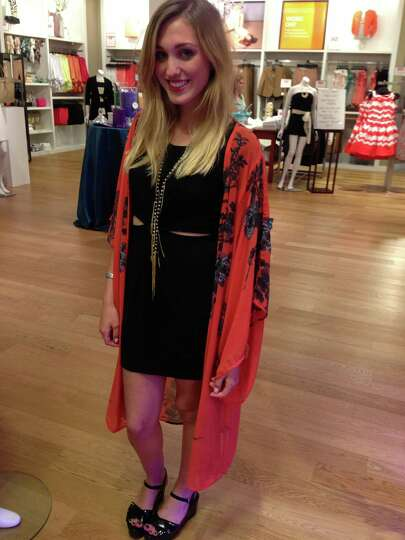 Juliana Day Huff's kimono-inspired jacket gives an arty, retro vibe to her little black dress