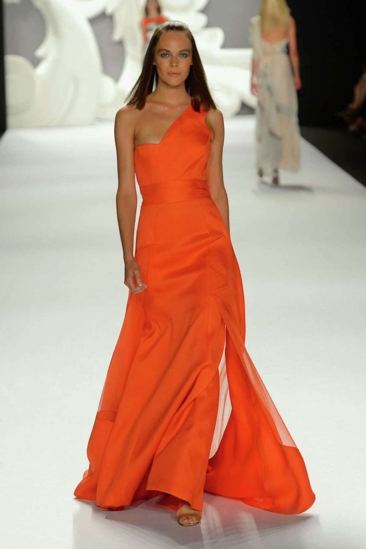 A model walks the runway at the Carolina Herrera Spring 2013 fashion show during Mercedes-Benz Fashion Week on September 10, 2012 in New York City.