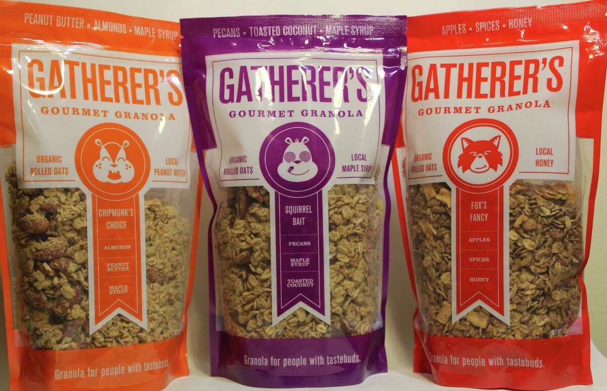 Three of Gatherer's Gourmet Granola flavors, Fox's Fancy, Chipmunk's Choice and Squirrel Bait.