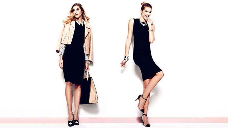 From left: piped sleeveless dress by Ava & Aiden $129 (orginally $398) and sleeveless sheath by Magaschoni $189 (orginally $398)