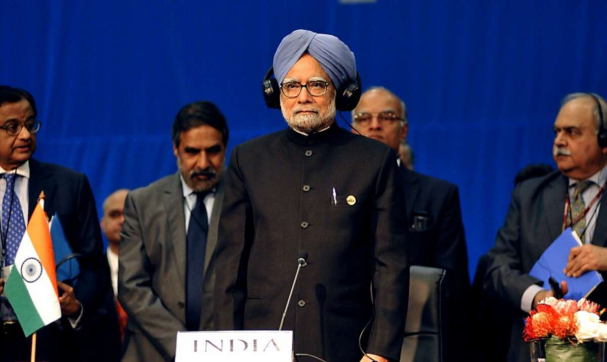 India's Prime minister Manmohan Singh attends the BRICS summit in Durban on March 27, 2013. Leaders from the BRICS group of emerging powers failed to launch a much-anticipated new development bank to rival Western-dominated institutions like the World Bank. AFP PHOTO / ALEXANDER JOEALEXANDER JOE/AFP/Getty Images
