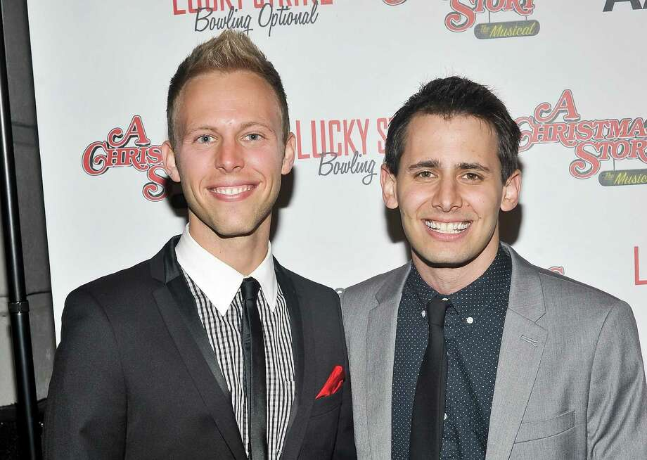 "Justin Paul, a Westport, Conn. native, and Benj Pasek, who grew up in Philadelphia, attend ""A Christmas Story: The Musical"" Broadway opening at Lunt-Fontanne Theatre on Nov. 19, 2012, in New York City. The two wrote the music and lyrics for the show. Since starting out professionally five years ago, this songwriting duo have earned multiple honors and gained fans. They will tell tales of their work and perform songs from Broadway and television during a concert at 4 p.m., Sunday, April 7, 2013 at St. Matthew's Episcopal Church in Wilton, Conn. For more information, visit http://www.stmatthewswilton.org. (Photo by Daniel Zuchnik/Getty Images) Photo: Contributed Photo / Stamford Advocate Contributed"