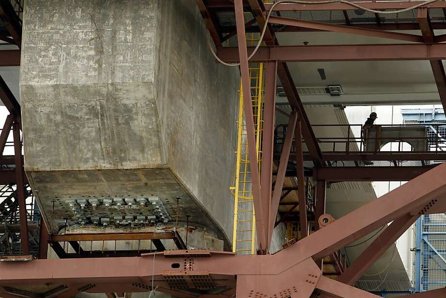Pier E-2 of the eastern section of the new Bay Bridge, which contains the fractured anchor rods (one of eight clusters of rods shown at bottom left), can be seen on a Caltrans boat tour of the affected areas of the bridge. Photo: Michael Macor, The Chronicle