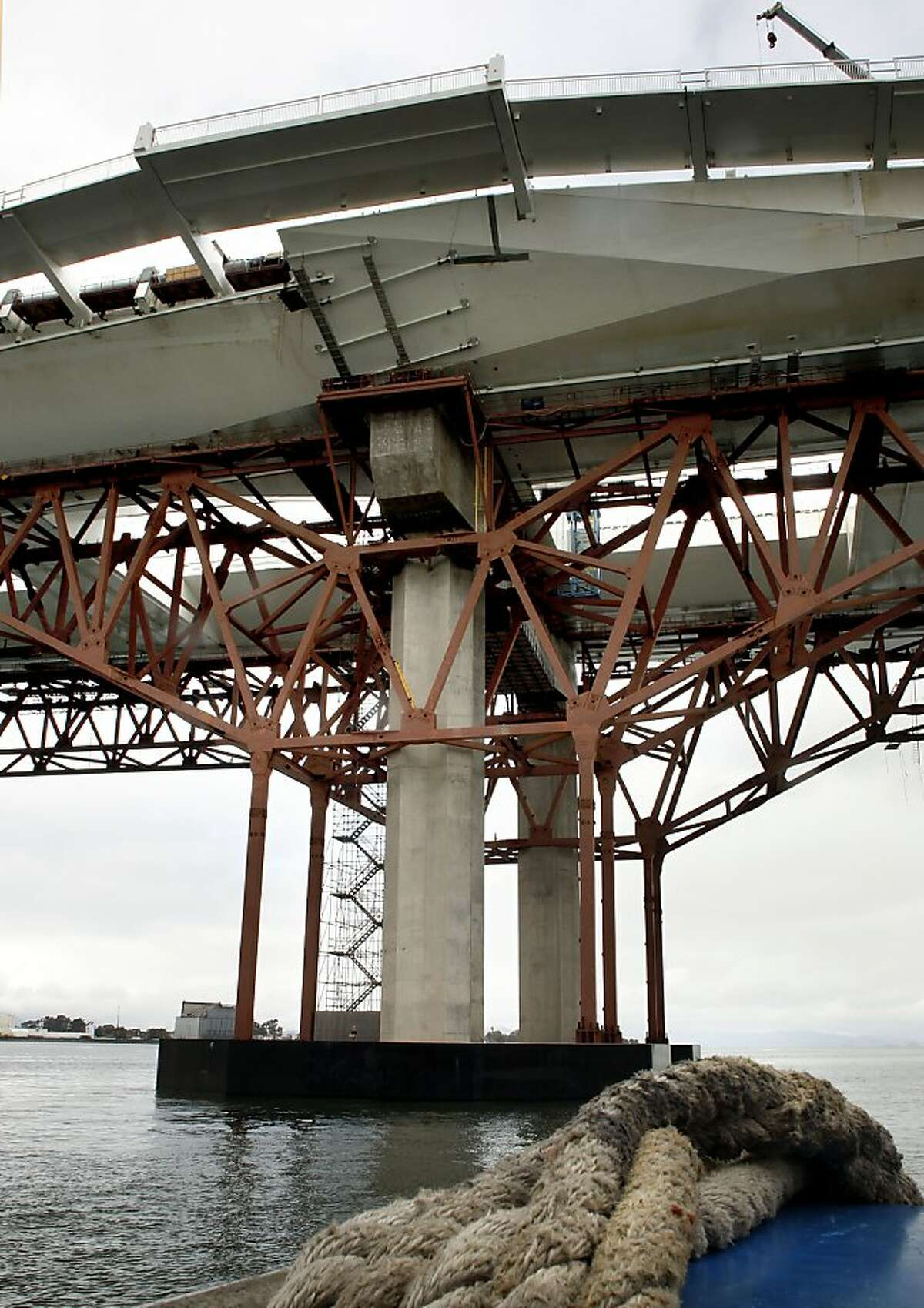 Pier E-2 of the new eastern section opt the Bay Bridge which contains the fractured anchor rods, as CalTrans conducts a boat tour of the impacted areas of new eastern section of the Bay Bridge on Wednesday Mar. 27, 2013, in Oakland, Ca. Inspections earlier this month found that 30 large bolts on the new eastern span of the Bay Bridge have fractured.
