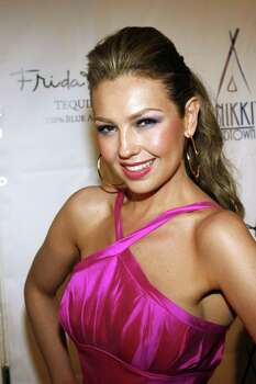 "Thalia arrives for a party to celebrate the release of her new album, ""Lunada,"" at Nikki Midtown in New York City, Tuesday, June 17, 2008. (Rob Kim/Landov/MCT) Photo: Rob Kim, MBR / Landov"