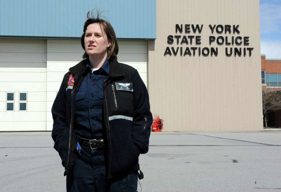 Colonie paramedic Mary Pat Provost outside the State Police aviation hanger on Wednesday, March 27, 2013 in Colonie, N.Y.  (Lori Van Buren / Times Union) Photo: Lori Van Buren