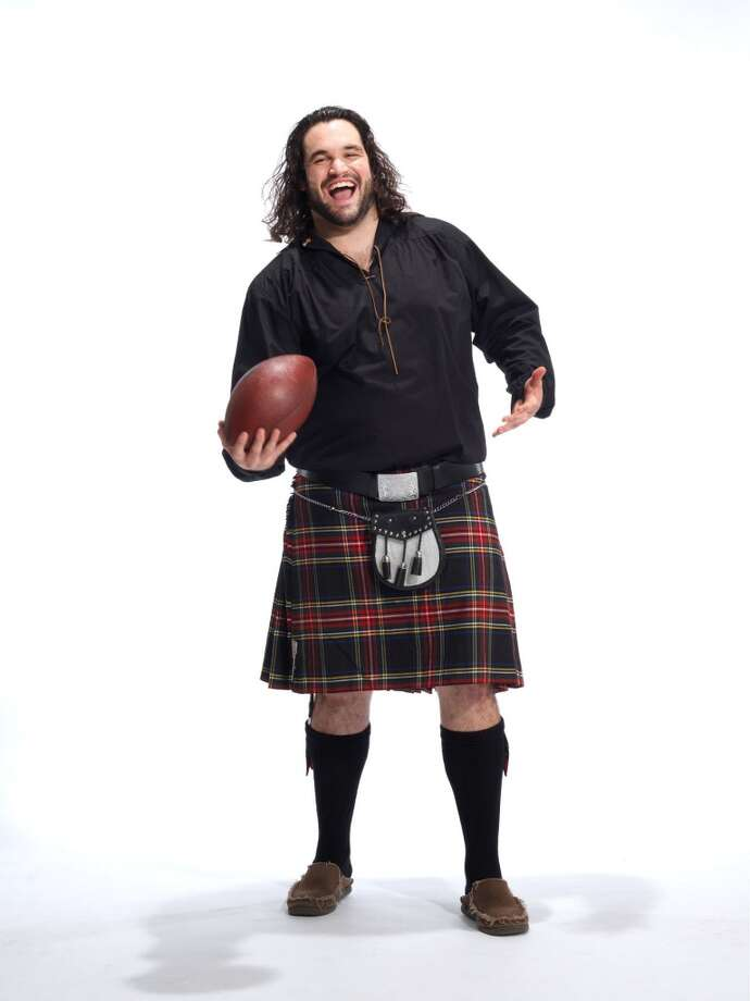 Seahawks guard John Moffitt poses for a photo as part of the Ronald McDonald House ''Men in Kilts'' fundraising campaign.