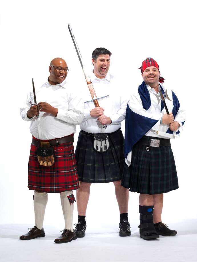 From left to right: Seattle Times sports columnist Jerry Brewer and KJR sports radio personalities Ian Furness and Jason Puckett pose for a photo as part of the Ronald McDonald House ''Men in Kilts'' fundraising campaign.