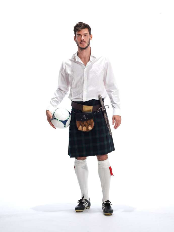 Sounders midfielder Brad Evans poses for a photo as part of the Ronald McDonald House ''Men in Kilts'' fundraising campaign.