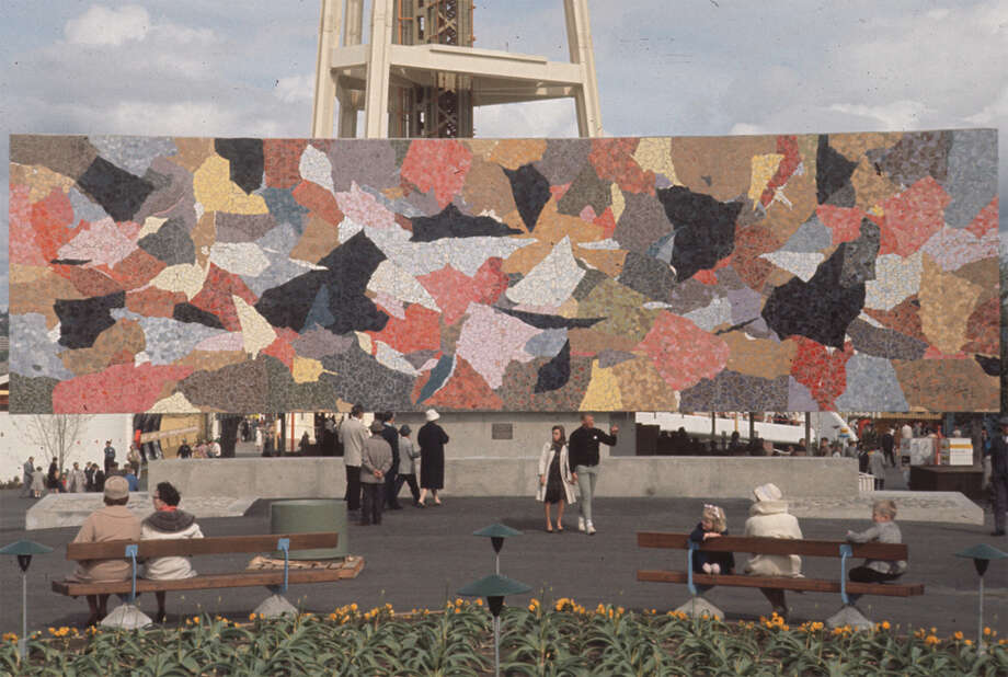 12. The grand-daddy of Seattle murals: Paul Horiuchi designed this glass mosaic piece for the 1962 World's Fair at Seattle Center. Photo, taken in April of that year, is from the Seattle Municipal Archives.