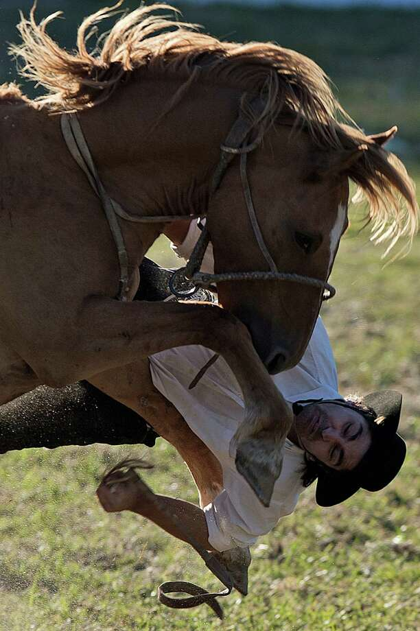 A gaucho falls from a bucking colt during the traditional rodeo week in Montevideo on March 27, 2013. Photo: PABLO PORCIUNCULA, AFP/Getty Images / Pablo Porciuncula