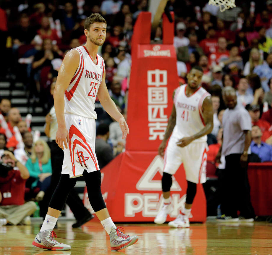 Rockets small forward Chandler Parsons looks on during the second quarter. Photo: James Nielsen, Houston Chronicle / © 2013 Houston Chronicle