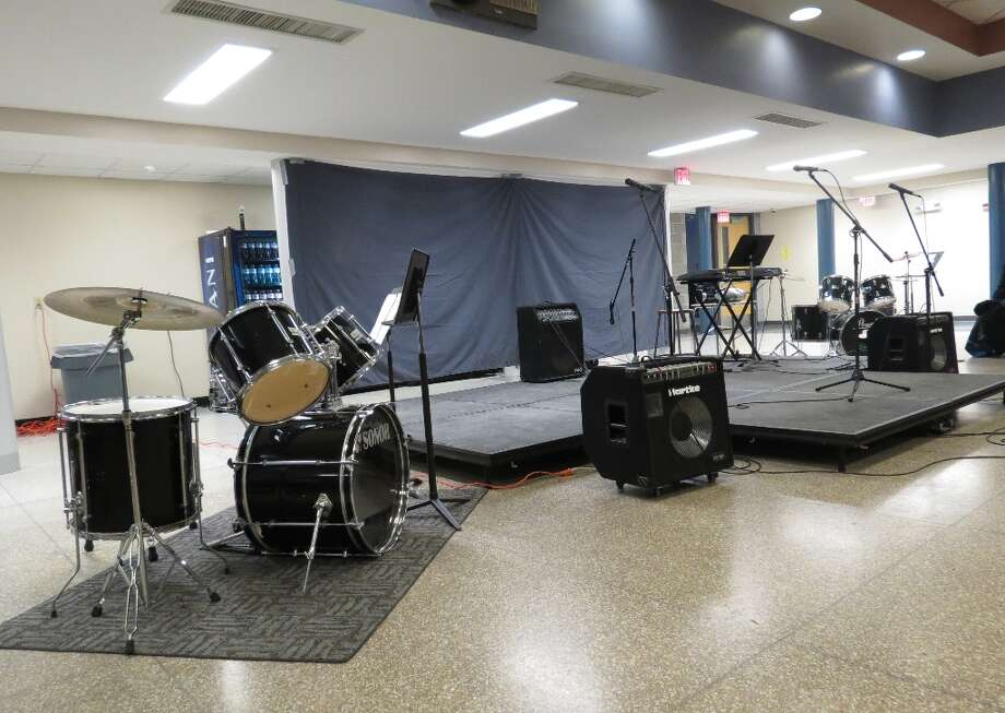 The Unplugged set in the Cohoes High cafeteria. Photo by Jenna Colozza Photo: Picasa