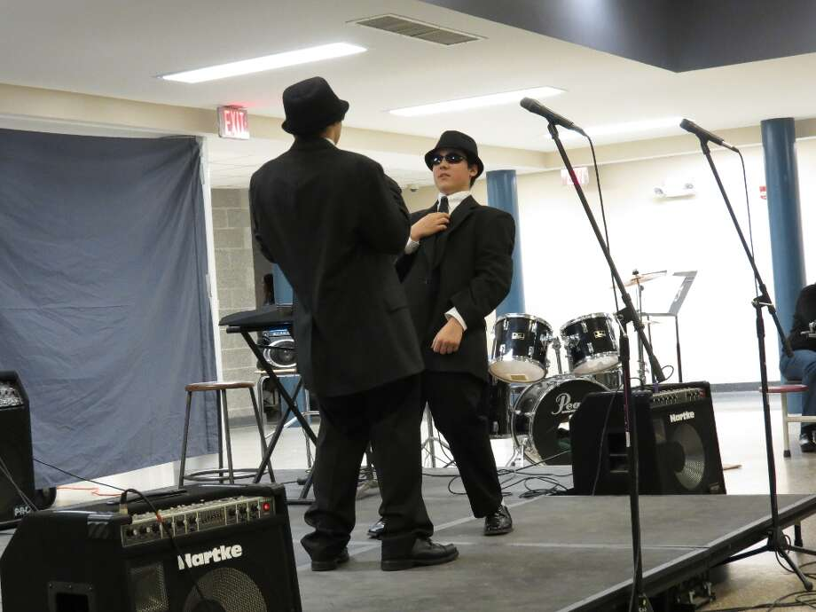 Freshmen Brandon Mason and Josh Rigney sing and dance to Soul Man in the style of the Blues Brothers. Photo by Jenna Colozza