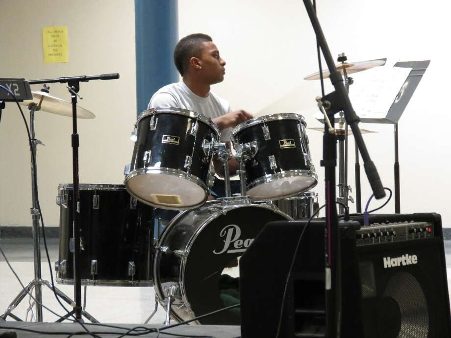 Senior Daishawne Sturdivant plays drums in a duo with fellow senior Connor Laughlin. Photo by Jenna Colozza