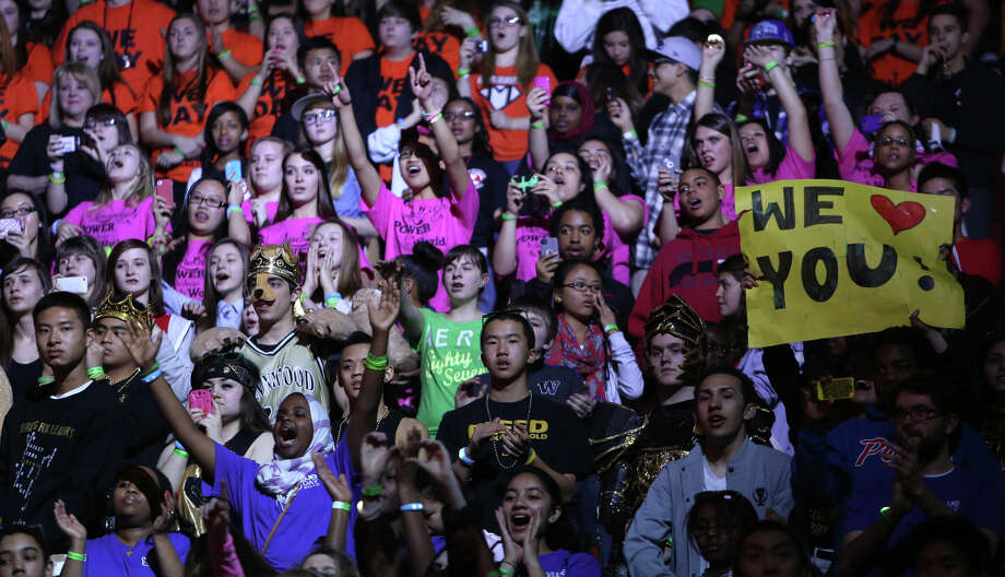 Students cheer during We Day at KeyArena in Seattle. The event brought thousands of middle and high school students together to hear from a list of celebrities and motivational speakers. We Day is a youth educational and empowerment event organized by the Free the Children charity. Students earned a seat at the event through their commitment to do good. Photo: JOSHUA TRUJILLO / SEATTLEPI.COM