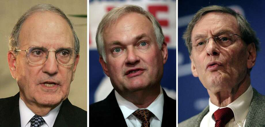 ** FILE ** These 2007 file photos show former Senate majority leader George Mitchell, left, union head Donald Fehr, center, and MLB commissioner Bud Selig, right.  Nearly three years ago, Selig and Fehr sat before Congress and were chastised for holes in baseball's drug-testing policy. They'll be back in front of that same House committee Tuesday, Jan. 15, 2008, along with the author of last month's Mitchell Report on steroids in the sport. (AP Photo/File) / AP
