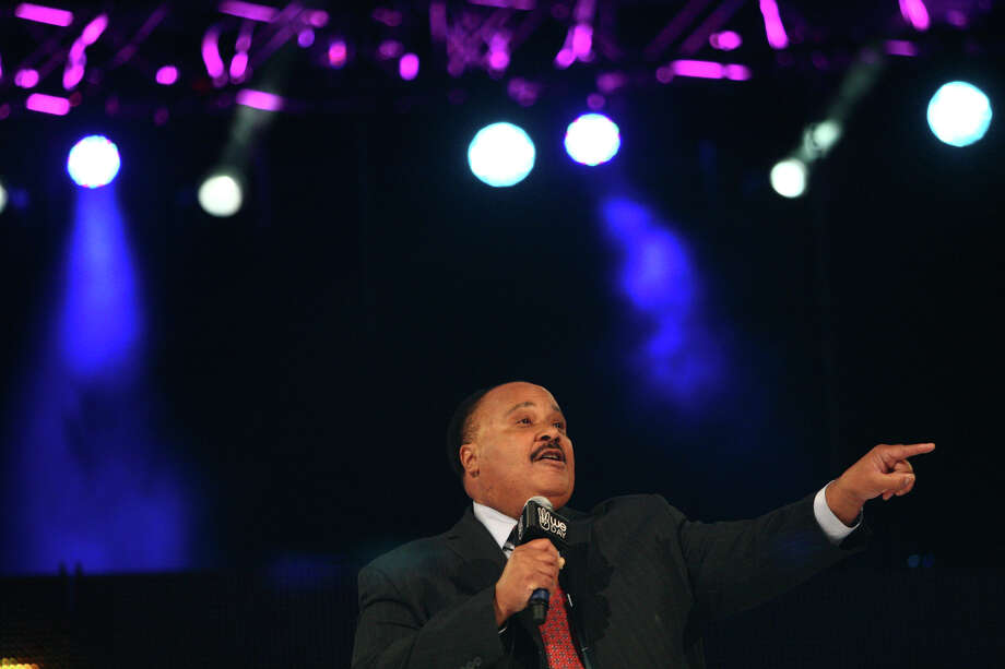Martin Luther King III speaks during We Day at KeyArena. He spoke of his parents and their dedication to civil rights. Photo: JOSHUA TRUJILLO / SEATTLEPI.COM
