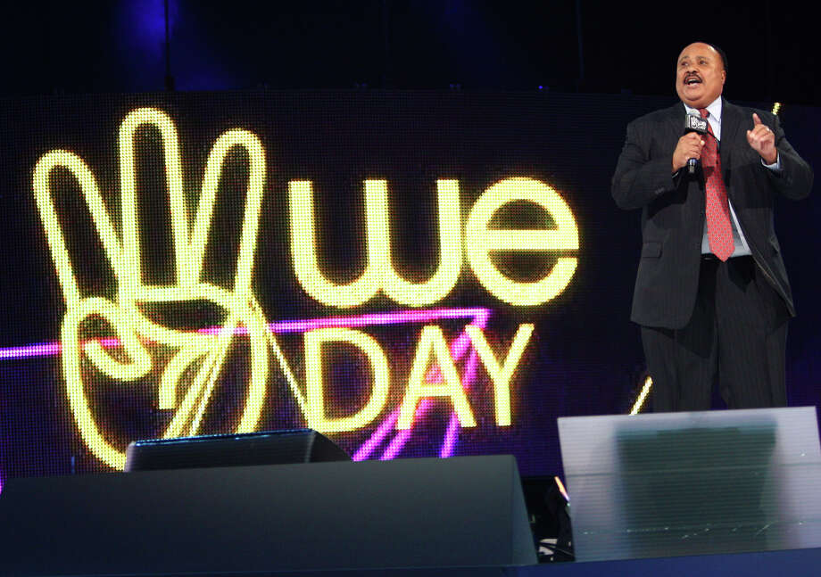 Martin Luther King III speaks during We Day. He talked about his parents dedication to civil rights. Photo: JOSHUA TRUJILLO / SEATTLEPI.COM