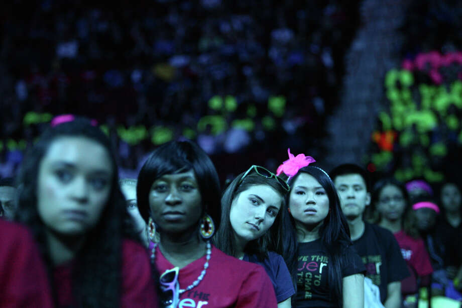 Audience members listen to a speaker during We Day. Photo: JOSHUA TRUJILLO / SEATTLEPI.COM