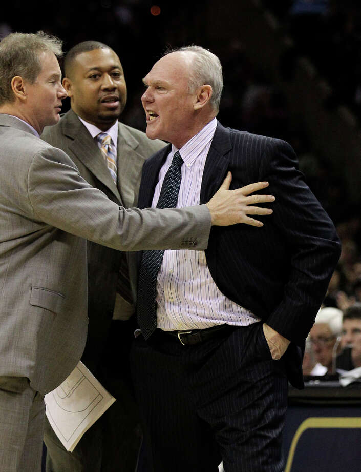 Denver Nuggets coach George Karl gets emotional after getting called for a technical during the game against the Spurs in the second half at the AT&T Center on Wednesday, Mar. 27, 2013. Spurs defeated the Nuggets, 100-99. Photo: Kin Man Hui, San Antonio Express-News / © 2012 San Antonio Express-News