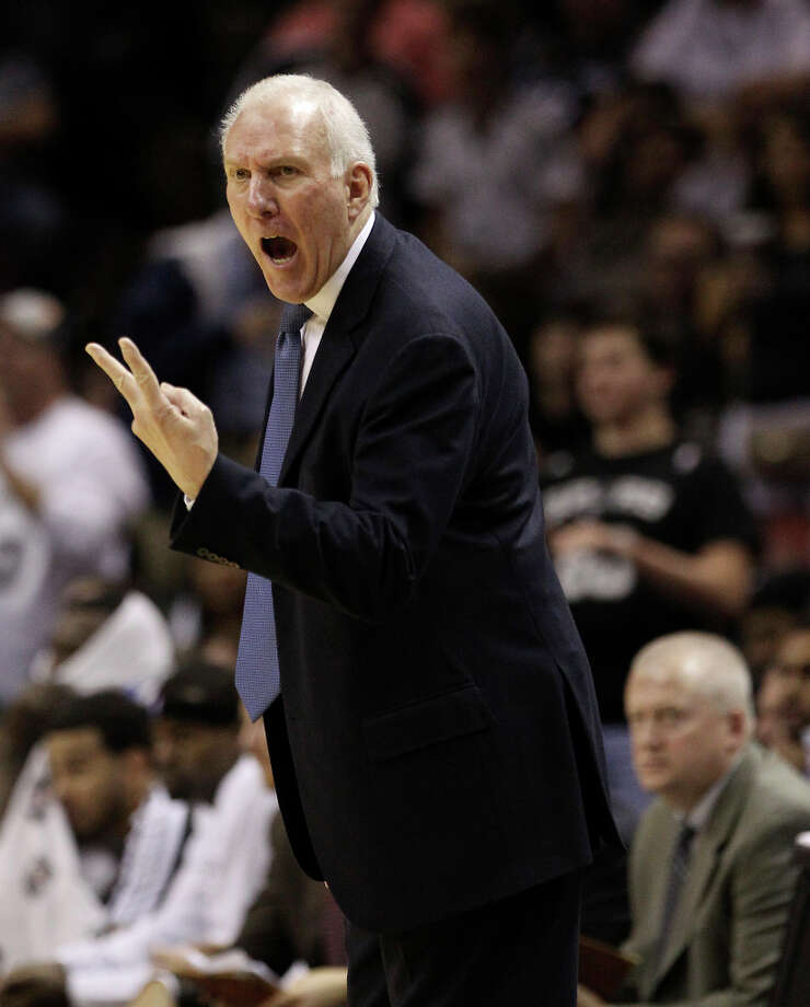 Spurs coach Gregg Popovich yells out toward a game official in the game against the Denver Nuggets in the second half at the AT&T Center on Wednesday, Mar. 27, 2013. Spurs defeated the Nuggets, 100-99. Photo: Kin Man Hui, San Antonio Express-News / © 2012 San Antonio Express-News