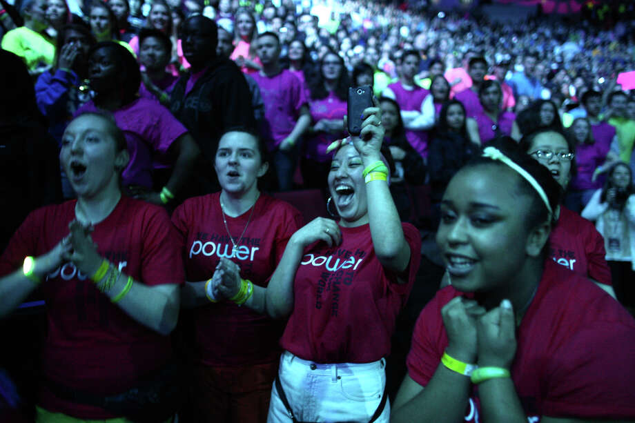 Participants cheer as Macklemore and Ryan Lewis take the stage during We Day. Photo: JOSHUA TRUJILLO / SEATTLEPI.COM