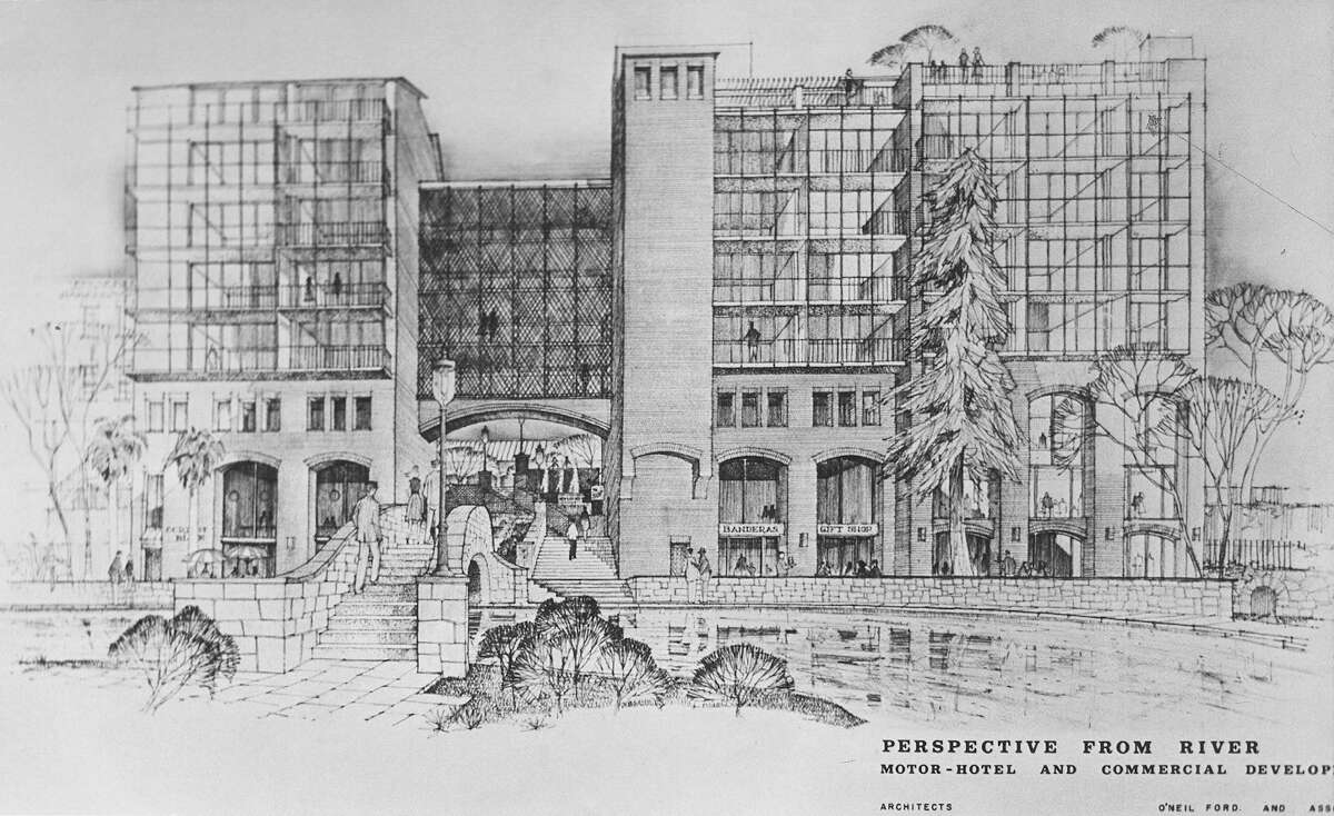 An early architectural rendering of the proposed River Walk hotel from March 1966. Construction would begin more than a year later.
