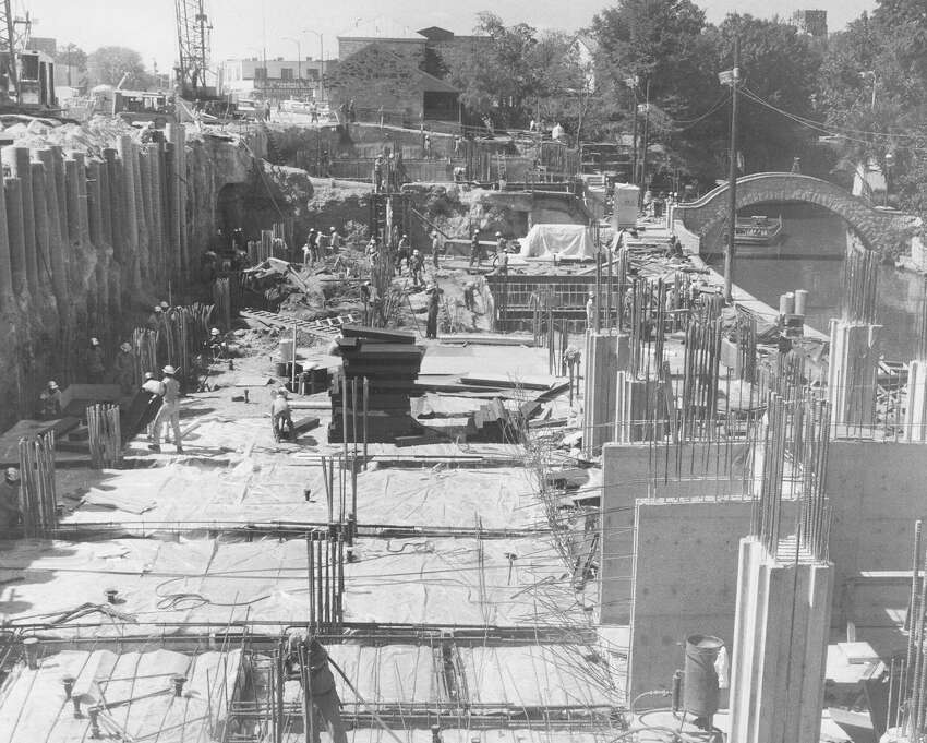 Workers build the foundation of the Hilton Palacio del Rio Hotel on Aug. 26, 1967. Since the hotel was built next to the San Antonio River, it couldn't have a basement. Instead, foundation piers three feet in diameter and 40 feet deep were drilled and a retaining wall was built to anchor the hotel.