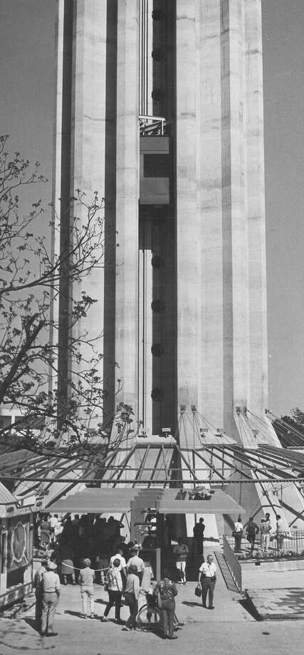 A power failure at the Tower of the Americas stranded an elevator full of tower visitors for 37 minutes on April 25, 1968, during HemisFair '68. Photo: San Antonio Express-News File Photo