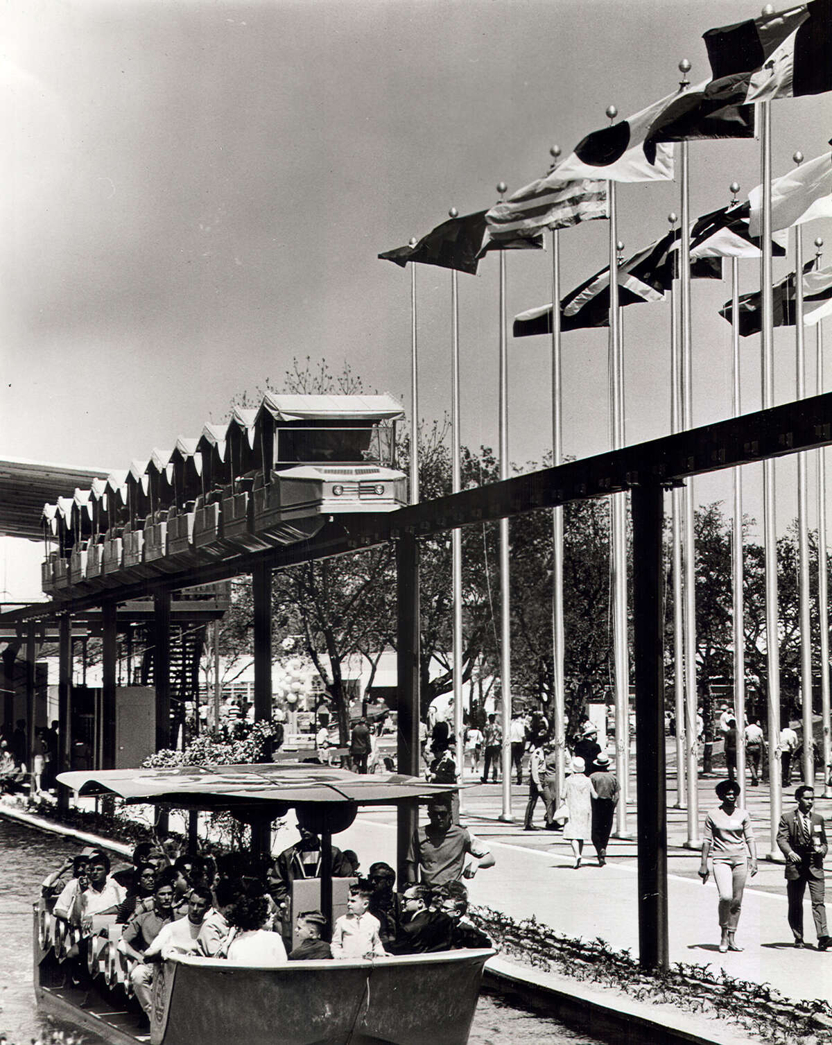 HemisFair '68's mini-monorail consisted of ten 40-passenger trains, each with 10 cars, that ferried 4,000 to 4,500 persons per hour across the fair on the 1½-mile long track at a speed of 15 mph.