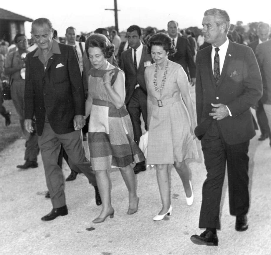 President Lyndon B. Johnson (from left), Mrs. John Connally, Lady Bird Johnson and Gov. John Connally visit HemisFair '68 on July 4, 1968.
