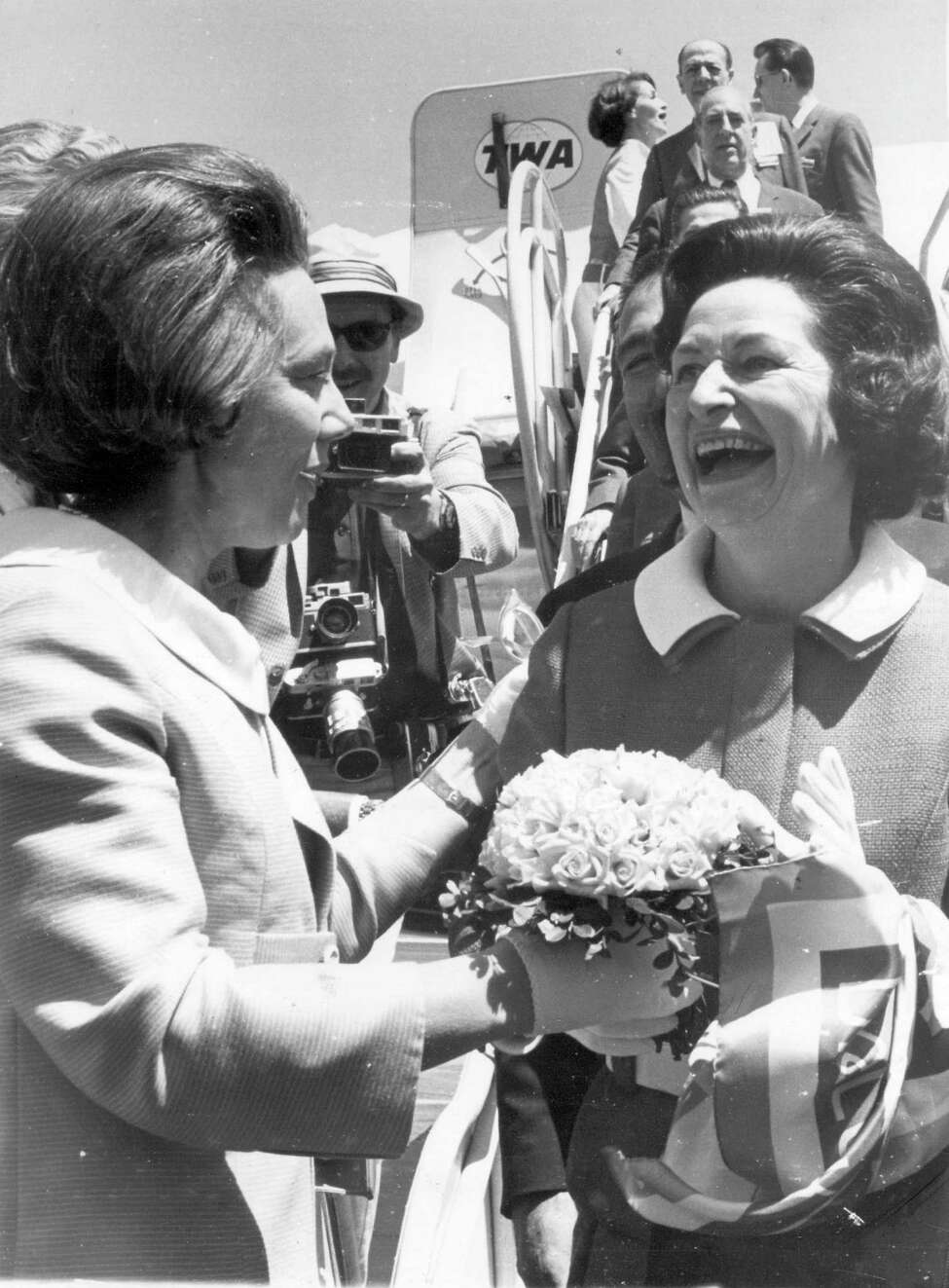 Nellie Connally, wife of Gov. John Connally, welcomes First Lady Lady Bird Johnson to San Antonio on April 5, 1968, to officially open HemisFair.