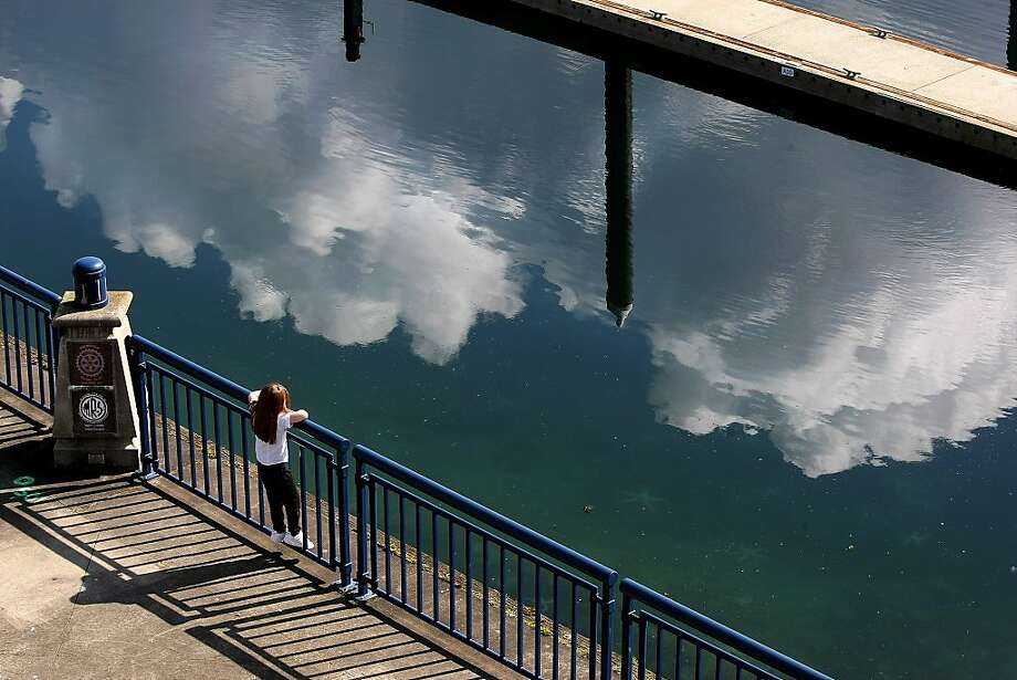 Clouds reflect in the water as a young girl looks out at the Harborside Marina Wednesday March 27, 2013, in Bremerton, Wash.   (AP Photo/Kitsap Sun, Larry Steagall ) Photo: Larry Steagall, Associated Press