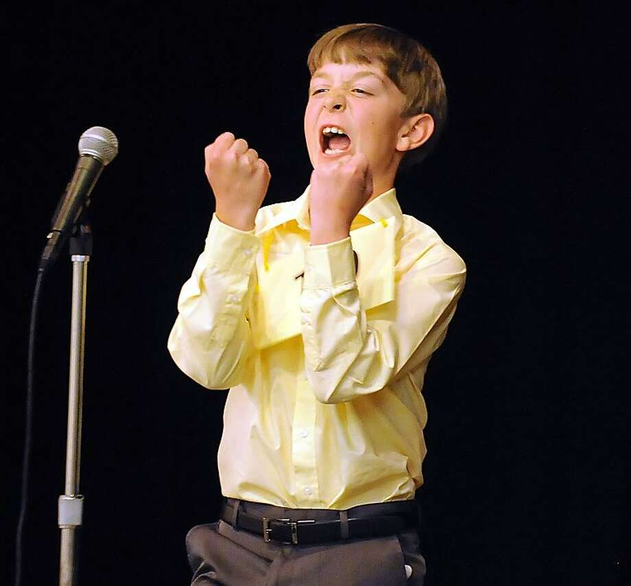 Alex Topp, 11 a sixth grader at Cooper Elementary School in Vacaville, California reacts after properly spelling the final word: zydeco, to win the the 2013 Solano County Spelling Bee on Wednesday, March 27, 2013 at the Joseph A. Nelson Community Center in Suisun City. Topp advances to the California State Spelling Bee Championship in April. (AP Photo/The Reporter, Joel Rosenbaum) Photo: Joel Rosenbaum, Associated Press