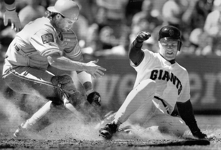 BILL SWIFT (1992): Swift slides into home in a win over the Phillies. As much as Swift excelled (when healthy) on the mound with the Giants, I remember him as one of the best of several excellent hitting pitchers in that era. Don Robinson was also fun to watch at the plate. Photo: Deanne Fitzmaurice, The Chronicle / ONLINE_YES