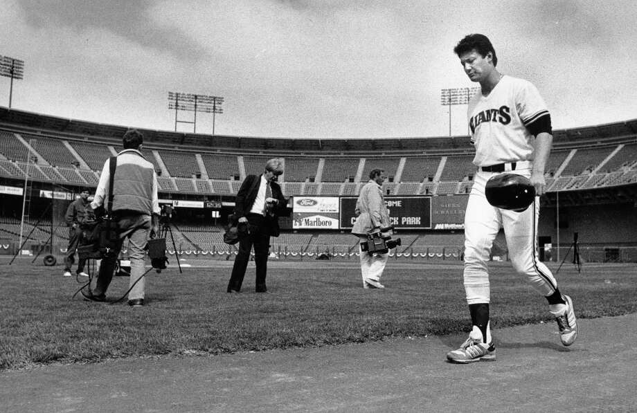 ATLEE HAMMAKER (1985): I know a lot of fans remember Hammaker for disappointing moments, but he was a solid Giants contributor for seven years -- with his ERA climbing above 4 only one. In the photo, he leaves Candlestick Park the night before an October 1987 playoff start. Photo: Deanne Fitzmaurice, The Chronicle / ONLINE_YES