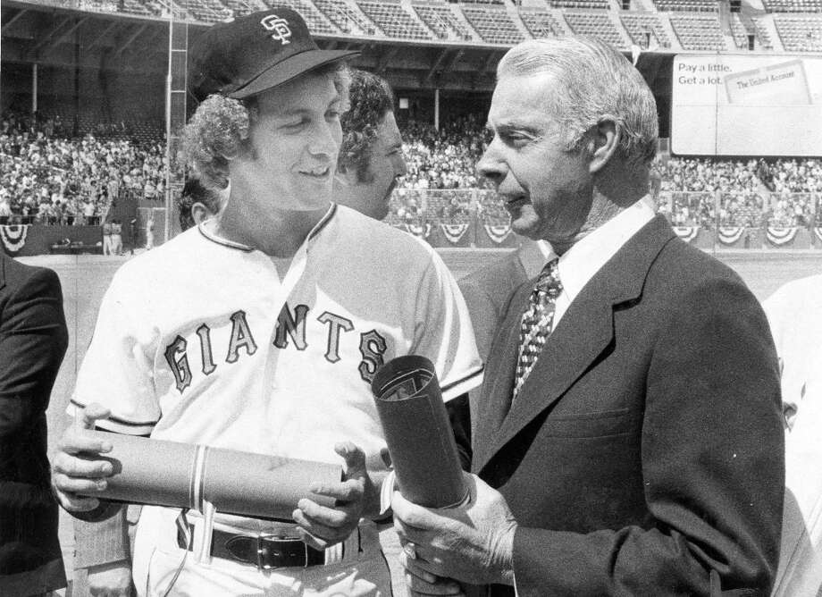 JOHN MONTEFUSCO (1976-1978): With his excellent nickname (The Count) and mushroom cloud of curly hair spilling from his hat, Montefusco was a fan favorite in his seven years with the Giants. Shown here with the legend Joe DiMaggio before a 1978 game. Photo: Peter Breinig, The Chronicle / ONLINE_YES