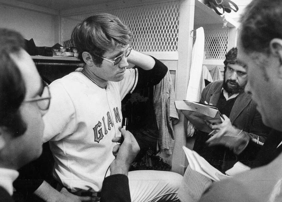 TOM BRADLEY (1974): He played seven years in the majors, and based on our photos never took off his shades. After beating the Houston Astros 5-1 on Opening Day at Candlestick Park (this photo was taken in the aftermath), Bradley finished the season with a 5.19 earned run average. Photo: Peter Breinig, The Chronicle / ONLINE_YES