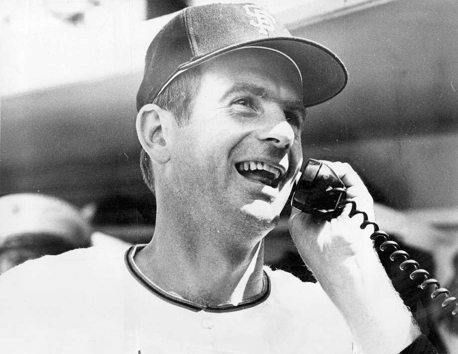 GAYLORD PERRY (1970): Shown here in 1968 on a dugout phone that looked exactly the same in 2012. Hall of Famer Perry won 134 of his 314 games with the Giants -- but only made one Opening Day start (a loss to the Astros at Candlestick Park) because of the greatness of Marichal. Photo: Art Frisch, The Chronicle / ONLINE_YES